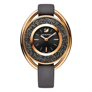 Crystalline Oval Watch, Black, Gold Tone PVD