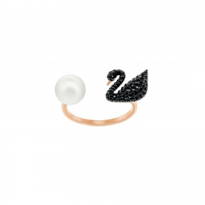 Iconic Swan Open Ring, Rose Gold Plated & Black Stones