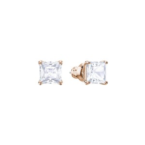 Attract Stud Pierced Earrings, Rose Gold Tone Plated & White Stones