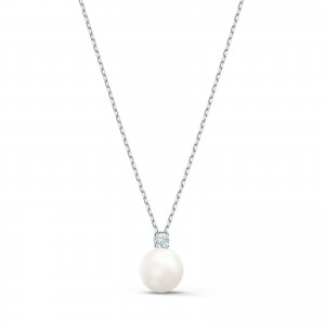 Necklace Treasure Pearl Rhodium Plated With White Stones