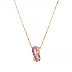 Pendant Twist Rows Rows Rose Gold Tone Plated With Purple Stones