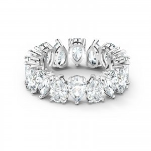 Band Ring Vittore Pear Rhodium Plated With White Stones