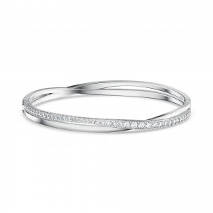 Bangle Twist Rows Medium Rhodium Plated With White Stones