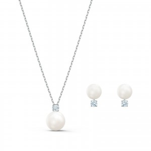 Set Treasure Pearl Rhodium Plated With White Stones