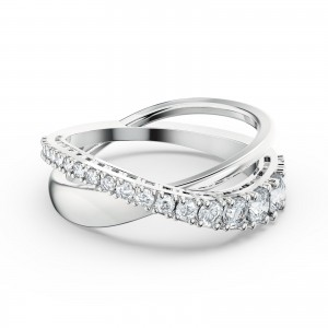 Motif Ring Twist Rows Rhodium Plated With White Stones