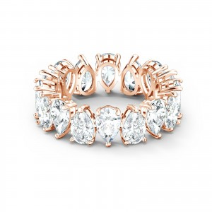 Band Ring Vittore Pear Rose Gold Tone Plated With White Stones